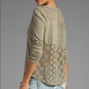 Free People | 'Patches of Lace' Open Back Henley